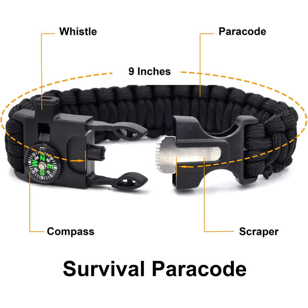 Emergency Survival Gear Kit EDC,SOS Tool for Outdoor Backpack Hiking Presents for Men Kids with Fashlight Compass