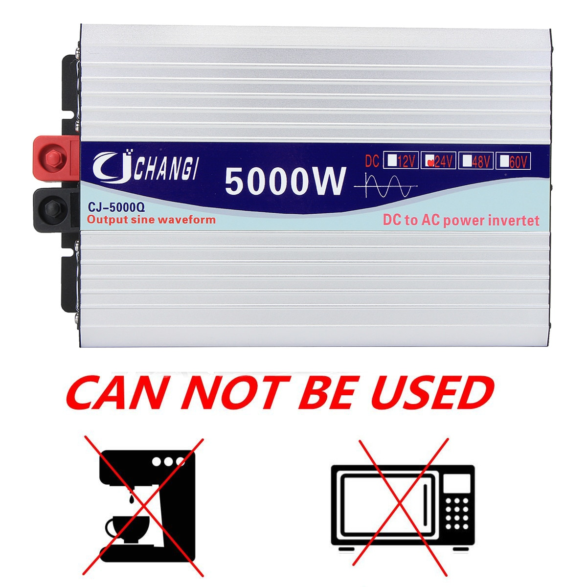 3000/4000/5000/6000W Portable 12/24V to AC 220V Power Solar Inverter Pure Sine Wave Converter Adapter LCD Screen 93% Conversion