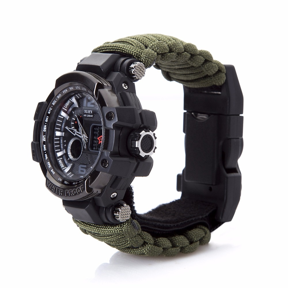 Outdoor Survival Watch Multifunctional Waterproof Military Tactical Paracord Watch Bracelet Camping Hiking Emergency Gear EDC
