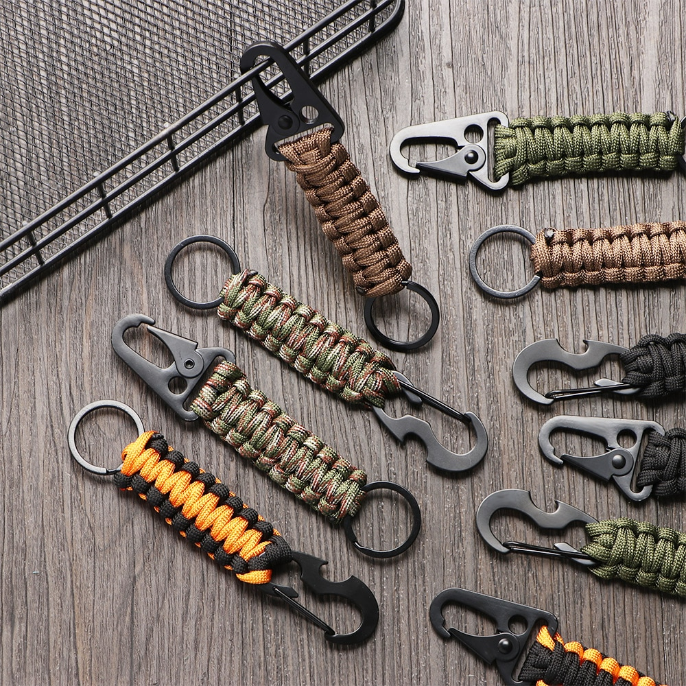 Outdoor Keychain Ring Camping Carabiner Military Paracord Cord Rope Camping Survival Kit Emergency Knot Bottle Opener Key Chain