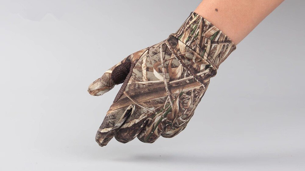 New Spring Summer outdoor Bionic camouflage gloves Hunting Tree Reeds Full gloves Anti-slip elastic touch screen Fishing gloves