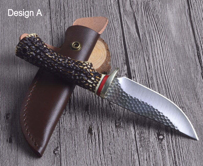 Tactical Knife Survival Knife Outdoor Hunting Fixed Knife 7Cr17Mov Blade Anti Deer horn Handle Camping Knives 3 Design